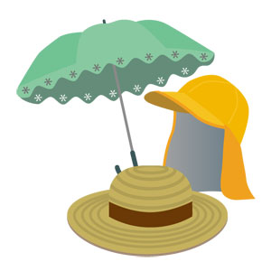日傘と帽子